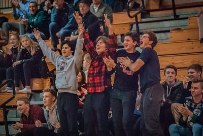 Holy Family Boys Varsity Basketball vs. Annandale Dec 20, 2018: Andy Frommelt '19, Jake Bornhoft '19, Quinn Pausche '19, and Blake Muschewske '19