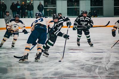 Holy Family Boys Varsity Hockey Section Playoff vs. Prior Lake  Feb 21, 2019: Trey Fechko '22 (5)