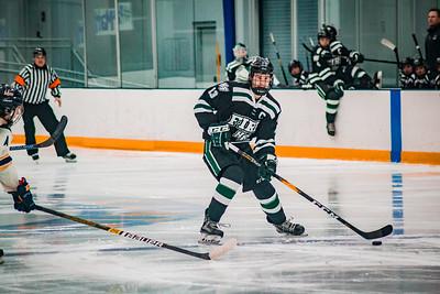 Holy Family Boys Varsity Hockey Section Playoff vs. Prior Lake  Feb 21, 2019: Captain Garrett Pinoniemi '20 (13)