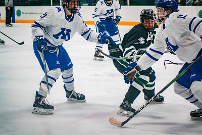 Holy Family Boys Varsity Hockey Section Playoff vs. Minnetonka Feb 23, 2019: Sawyer Schugel '19 (3)