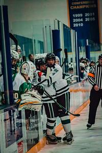 Holy Family Boys Varsity Hockey vs. Edina Nov 23, 2018: Cole Wilson '19 (17) & Captain Dan Reddan '19 (4)