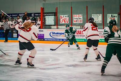 Holy Family Girls Varsity Hockey Section Playoff vs. Shakopee Feb 8, 2019: Sadie Long '21 (5)