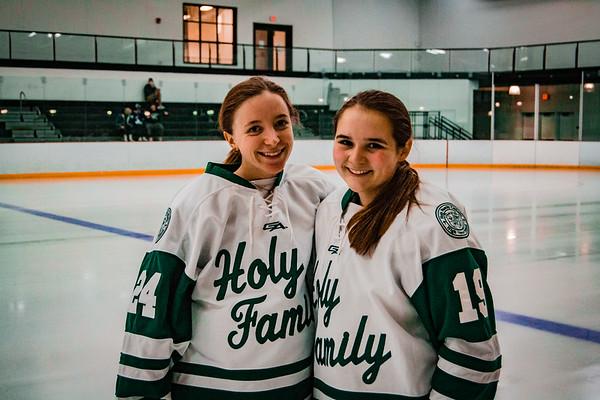 Holy Family Girls Varsity Hockey vs. New Prague Jan 22, 2019: Allison O'Brian '19 & Mya Braun '19