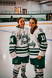 Holy Family Girls Varsity Hockey vs. New Prague Jan 22, 2019: Allison O'Brian & Mya Braun