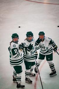 Holy Family Girls Varsity Hockey vs. Orono  Dec 18, 2018: Captain Lauren Hickey '20 (15) & Sadie Long '21 (5) & MacKenzie McMillan '22 (11)