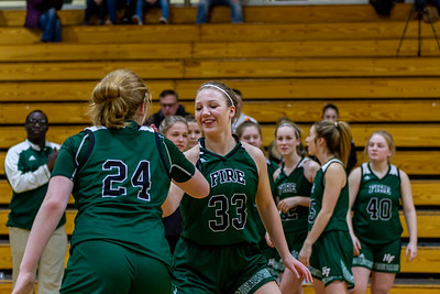 Holy Family's Sophia Zay '24 (24) and Lucy Hertel '22 (33) vs. Maple Lake at Section 5AA Round of 16 - Collin Nawrocki/The Phoenix
