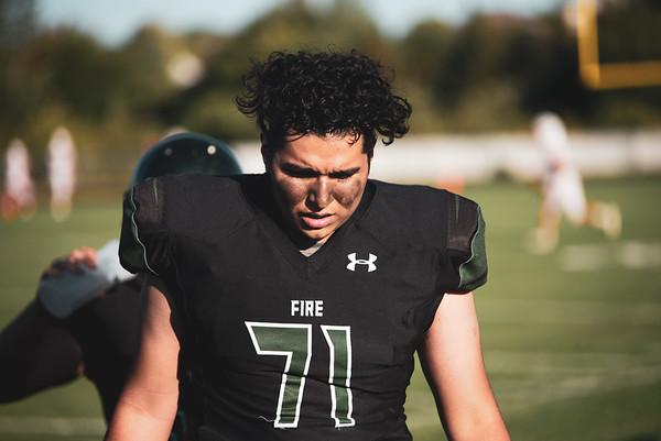 Holy Family Varsity Football vs. Mound Westonka, 8/29/19: Emiliano Corona '21 (71)