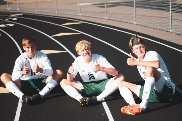 Holy Family Varsity Soccer vs. Delano, 9/19/19: From left to right: David Torborg '20 (10), Rory Johnson '20 (16), Jack Buchholz '20 (23)
