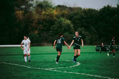 Holy Family Girls Varsity Soccer vs. Glencoe-Silver Lake, 9/24/19: Mimi Pavelka '22 (15) & Ella Haley '20 (4)