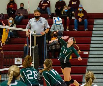 Holy Family Volleyball fell to Jordan 3-0 on Thursday, October 29, 2020 at Jordan High School. Collin Nawrocki / The Phoenix