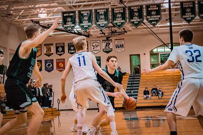 Holy Family Boys Basketball Section Quarterfinal vs. Watertown Mayer Mar 7, 2019: Jacob Zay '19 (3)