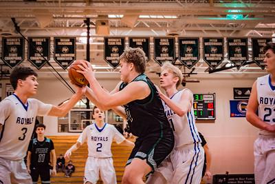 Holy Family Boys Basketball Section Quarterfinal vs. Watertown Mayer Mar 7, 2019: Seth Thompson '20 (50)