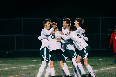 State Tournament Quarterfinal: Holy Family vs. Austin Oct 24, 2018: Holy Family Boys Varsity Soccer Team celebrates Ben Creager '20 (8) goal