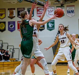 Holy Family Varsity Girls Basketball vs. New Prague, 1/24/20: Captain Abbey Fink '20 (11)
