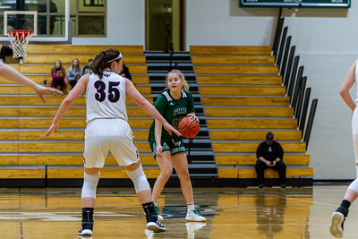 Holy Family Varsity Girls Basketball vs. New Prague, 1/24/20: Captain Grace Elander '20 (12)
