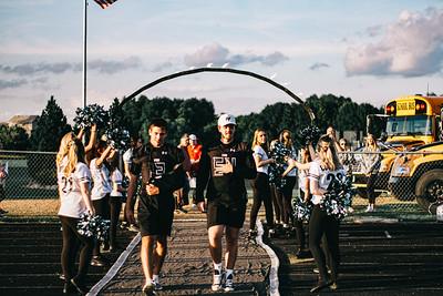 Holy Family Varsity Football vs. Dassel-Cokato, 9/6/19: Jake Kirsch '21 (13) & Carson Liebeg '20 (54)