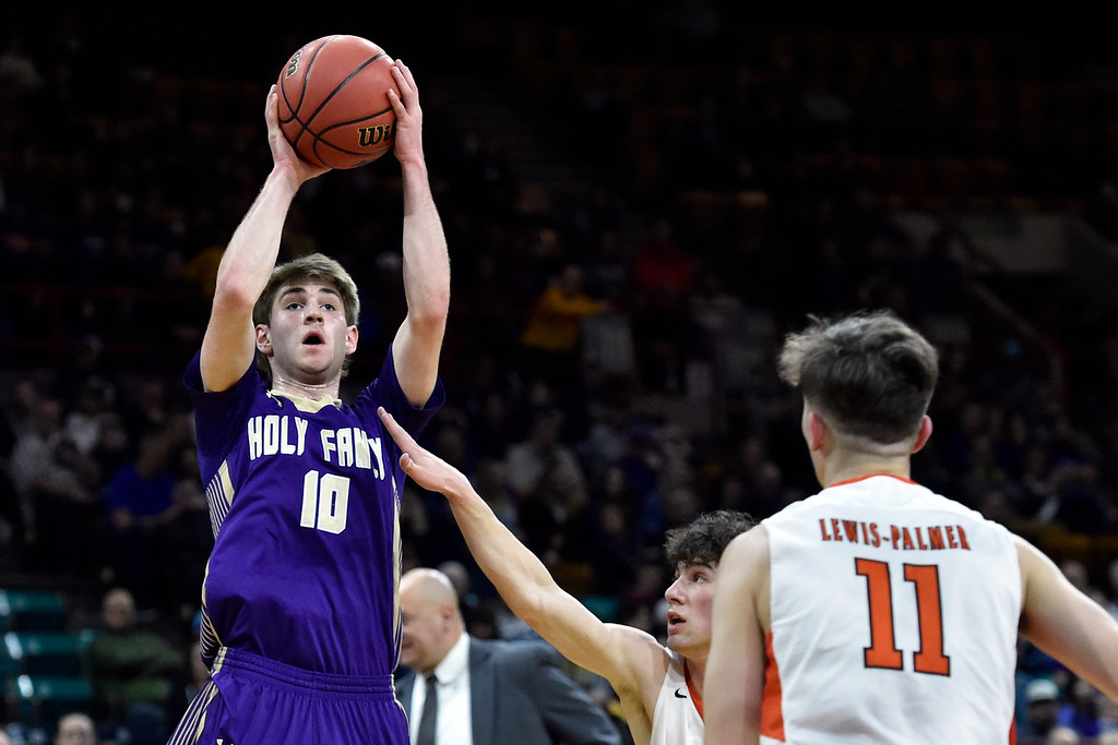 . DENVER, CO - MARCH 8, 2019: Holy Family High School\'s Tanner Baird takes a shot during a CHSAA 4A Final Four playoff game against Lewis Palmer on Friday at the Denver Coliseum. Holy Family lost the game. More photos: BoCoPreps.com (Photo by Jeremy Papasso/Staff Photographer)