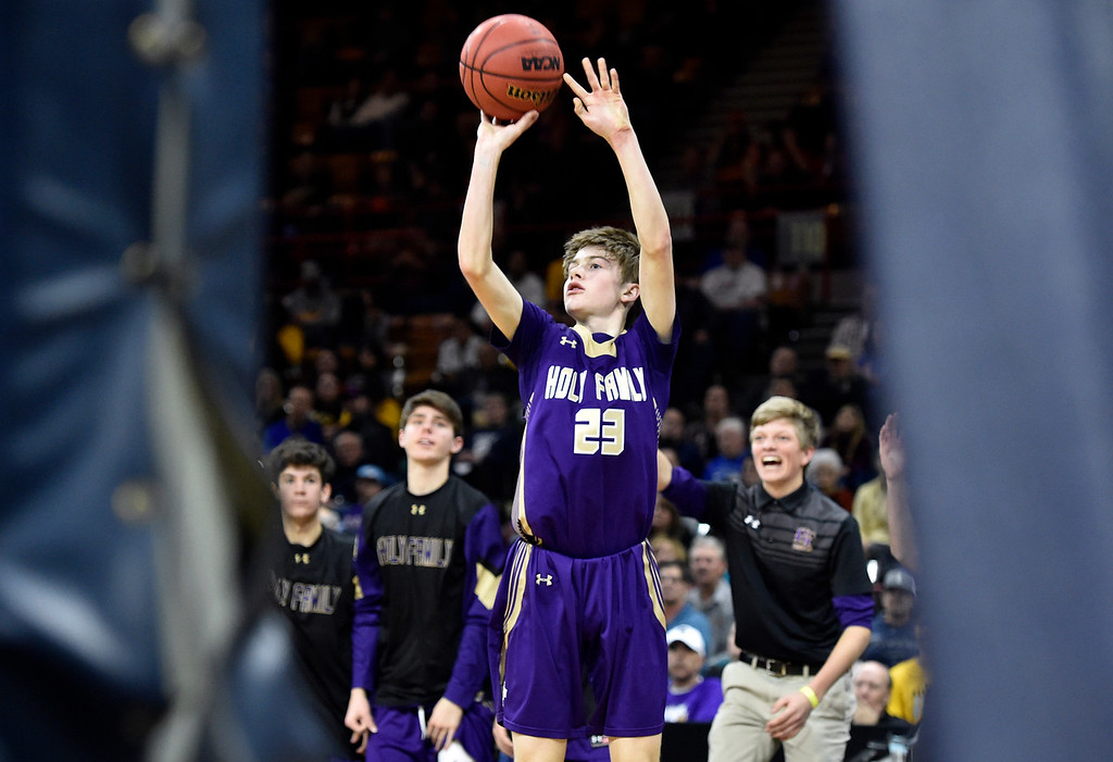 . DENVER, CO - MARCH 8, 2019: Holy Family High School\'s Garrett Green takes a shot during a CHSAA 4A Final Four playoff game against Lewis Palmer on Friday at the Denver Coliseum. Holy Family lost the game. More photos: BoCoPreps.com (Photo by Jeremy Papasso/Staff Photographer)