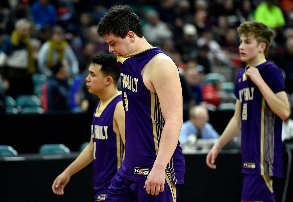 . DENVER, CO - MARCH 8, 2019: Holy Family High School\'s Kyle Helbig shows his emotions after losing a CHSAA 4A Final Four playoff game against Lewis Palmer on Friday at the Denver Coliseum. Holy Family lost the game. More photos: BoCoPreps.com (Photo by Jeremy Papasso/Staff Photographer)