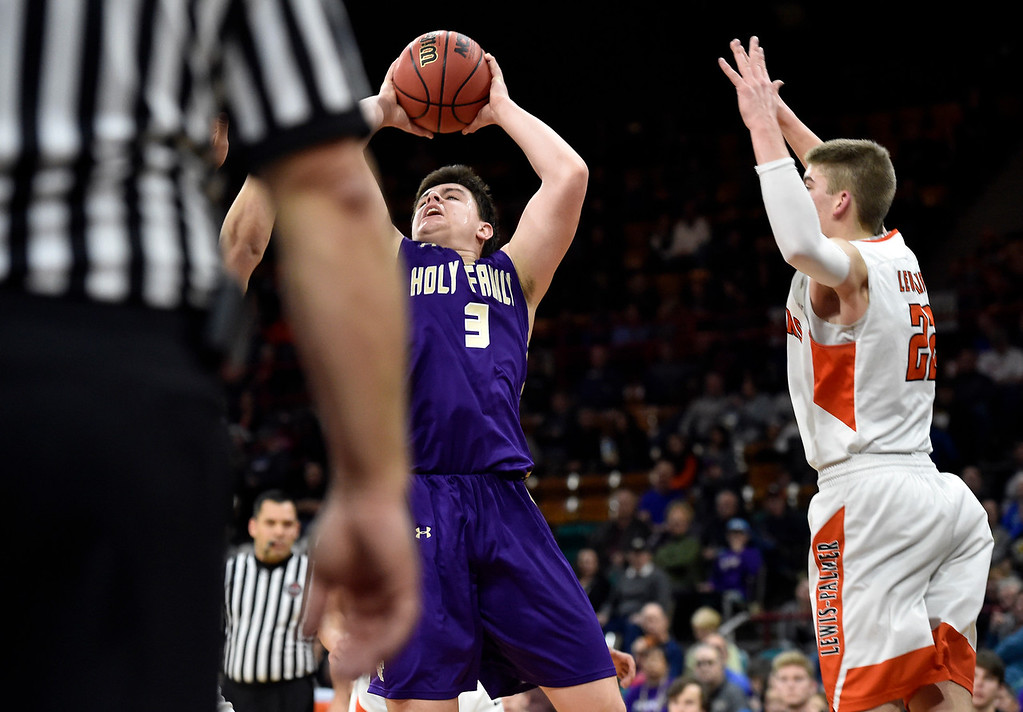 . DENVER, CO - MARCH 8, 2019: Holy Family High School\'s Kyle Helbig takes a shot during a CHSAA 4A Final Four playoff game against Lewis Palmer on Friday at the Denver Coliseum. Holy Family lost the game. More photos: BoCoPreps.com (Photo by Jeremy Papasso/Staff Photographer)