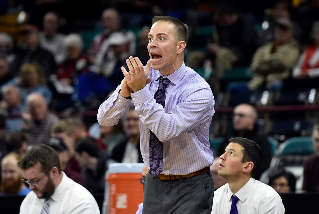 . DENVER, CO - MARCH 8, 2019: Holy Family High School Head Coach Pete Villecco yells to his team during a CHSAA 4A Final Four playoff game against Lewis Palmer on Friday at the Denver Coliseum. Holy Family lost the game. More photos: BoCoPreps.com (Photo by Jeremy Papasso/Staff Photographer)