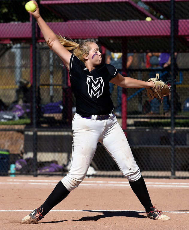 . AURORA, CO - October 20, 2018: Bailey Carlson, of Mountain View, pitches against Holy Family.   Holy Family beats Mountain View to win the 4A State Softball Championship in Aurora on Saturday.  (Photo by Cliff Grassmick/Staff Photographer)