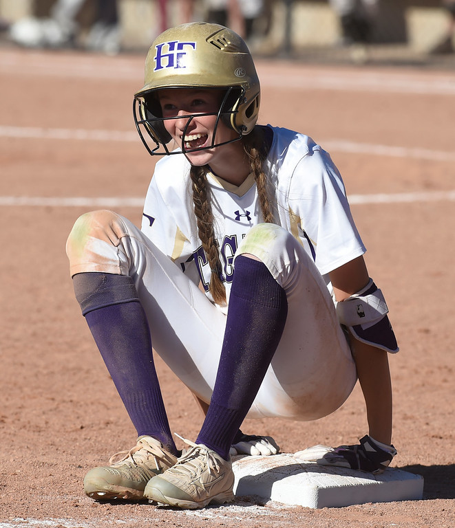 . AURORA, CO - October 20, 2018: Tyler Whilock, of Holy Family sets up camp at third base. Holy Family beats Mountain View to win the 4A State Softball Championship in Aurora on Saturday.  (Photo by Cliff Grassmick/Staff Photographer)