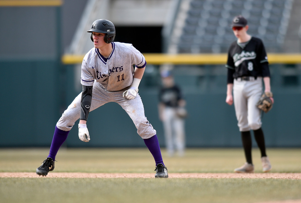. DENVER, CO - MARCH 18, 2019: Holy Family High School\'s Collin Kringlen gets a lead at second base during a non-conference game against Conifer on Monday at Coors Field in Denver. For more photos of the game go to: BoCoPreps.com (Photo by Jeremy Papasso/Staff Photographer)