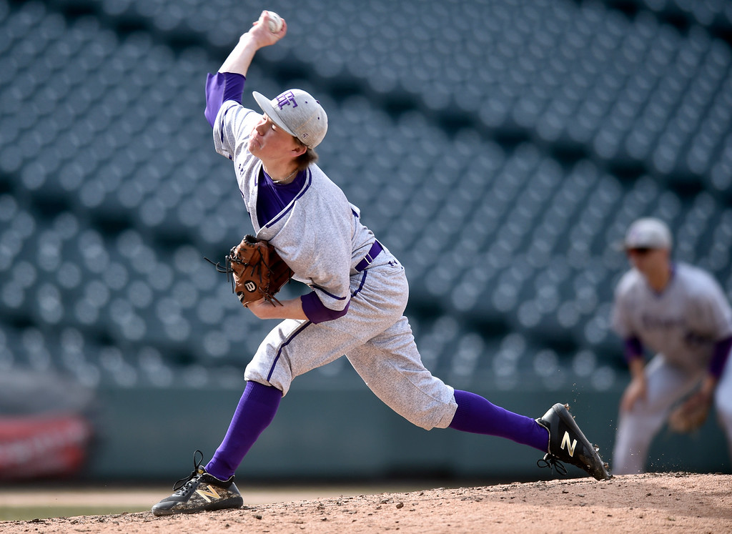 . DENVER, CO - MARCH 18, 2019: Holy Family High School\'s Weston Siefken throws a pitch during a non-conference game against Conifer on Monday at Coors Field in Denver. For more photos of the game go to: BoCoPreps.com (Photo by Jeremy Papasso/Staff Photographer)