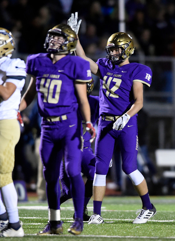 . BROOMFIELD, CO - OCTOBER 12, 2018: Holy Family High School\'s Liam Gray, at right, celebrates after kicking a field goal during a CHSAA football game against Frederick on Friday in Broomfield. More photos: BoCoPreps.com (Photo by Jeremy Papasso/Staff Photographer)