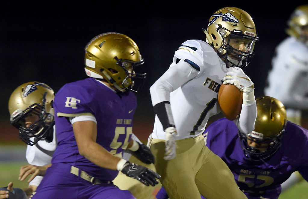 . BROOMFIELD, CO - OCTOBER 12, 2018: Frederick High School\'s Dante Ciaravola runs the ball during a CHSAA football game against Holy Family on Friday in Broomfield. More photos: BoCoPreps.com (Photo by Jeremy Papasso/Staff Photographer)
