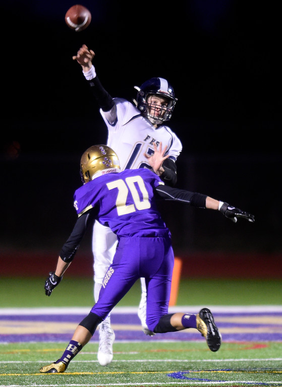 . Frederick High School quarterback Kyle Polansky throws a pass during a game against Holy Family on Friday in Broomfield. More photos go to BoCoPreps.com Jeremy Papasso/ Staff Photographer/ Oct. 6, 2017
