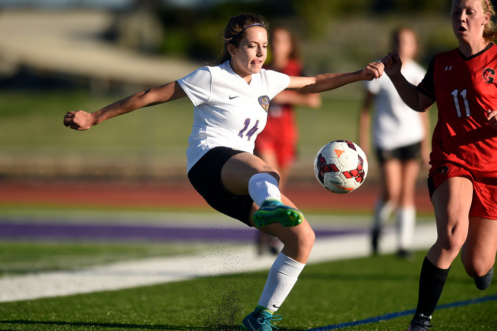 . Holy Family High School\'s Lauren Clingman moves the ball upfield during a CHSAA State Semifinal soccer game against Glenwood Springs on Wednesday in Broomfield. Holy Family lost the game 3-2. More photos: BoCoPreps.com Jeremy Papasso/ Staff Photographer 05/16/2018