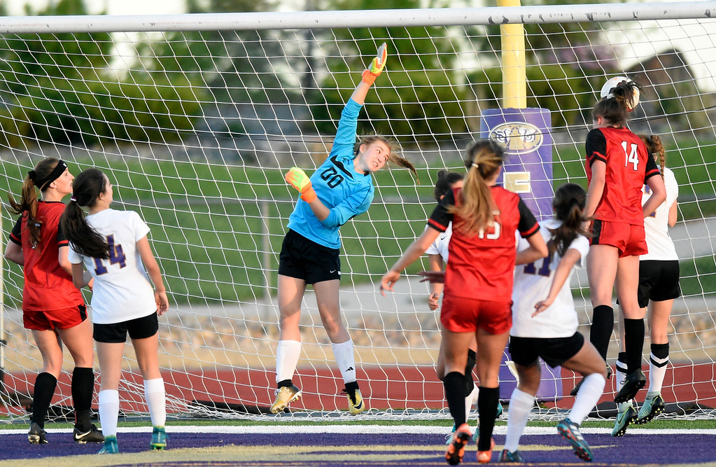 . Holy Family High School goalkeeper Sally Napierkowski watches as the game winning goal goes over her head during a CHSAA State Semifinal soccer game against Glenwood Springs on Wednesday in Broomfield. Holy Family lost the game 3-2. More photos: BoCoPreps.com Jeremy Papasso/ Staff Photographer 05/16/2018