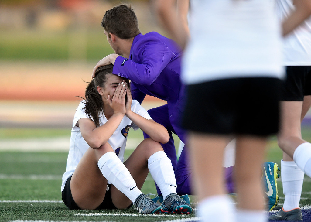 . Holy Family High School\'s Jules Geneser reacts after losing to Glenwood Springs during a CHSAA State Semifinal soccer game on Wednesday in Broomfield. Holy Family lost the game 3-2. More photos: BoCoPreps.com Jeremy Papasso/ Staff Photographer 05/16/2018
