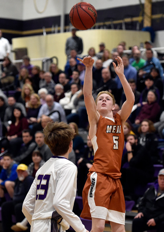 . BROOMFIELD, CO - JANUARY 23, 2019: Mead High School\'s Trey Ward takes a shot during a CHSAA basketball game against Holy Family on Thursday in Broomfield. More photos: BoCoPreps.com (Photo by Jeremy Papasso/Staff Photographer)