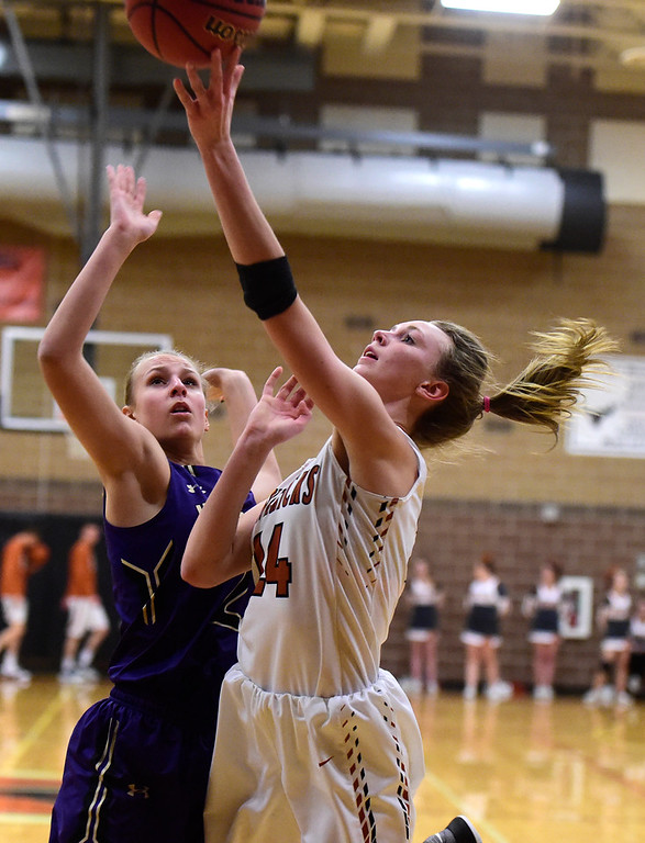 . Mead High School\'s Jada Levine goes for a layup during a game against Holy Family on Tuesday in Mead. More photos: BoCoPreps.com Jeremy Papasso/ Staff Photographer 02/13/2018