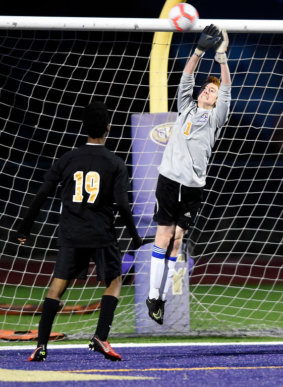 . BROOMFIELD, CO - OCTOBER 8, 2018: Holy Family High School\'s Liam Burns makes a save during a game against Skyline on Monday in Broomfield. More photos: BoCoPreps.com (Photo by Jeremy Papasso/Staff Photographer)