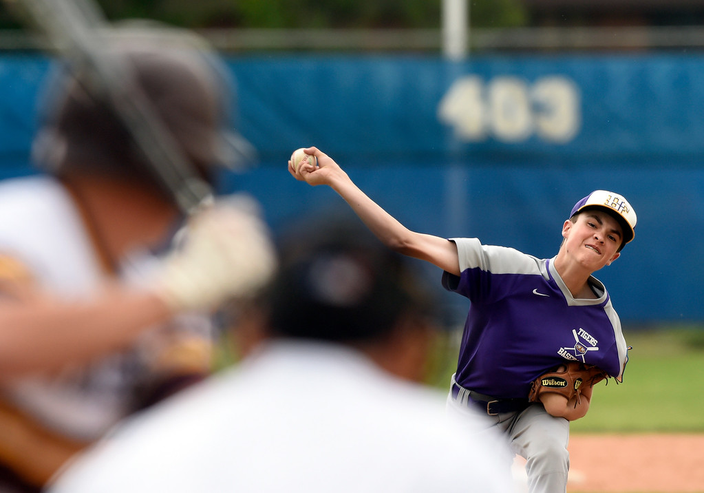. Holy Family pitcher Bobby Ziegler throws a pitch during a game against Windsor on Friday at Centaurus High School in Lafayette. More photos: BoCoPreps.com Jeremy Papasso/ Staff Photographer 07/27/2018