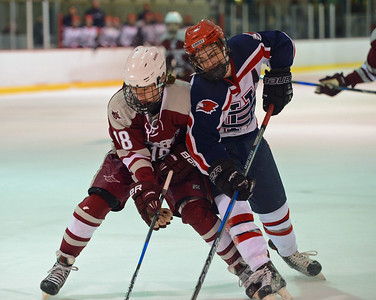 Shane Stevens (12) battles Tyler Black (18) for puck.