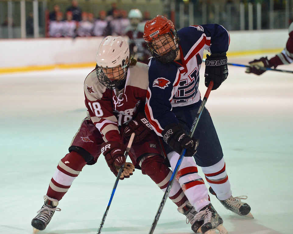 . Shane Stevens (12) battles Tyler Black (18) for puck.