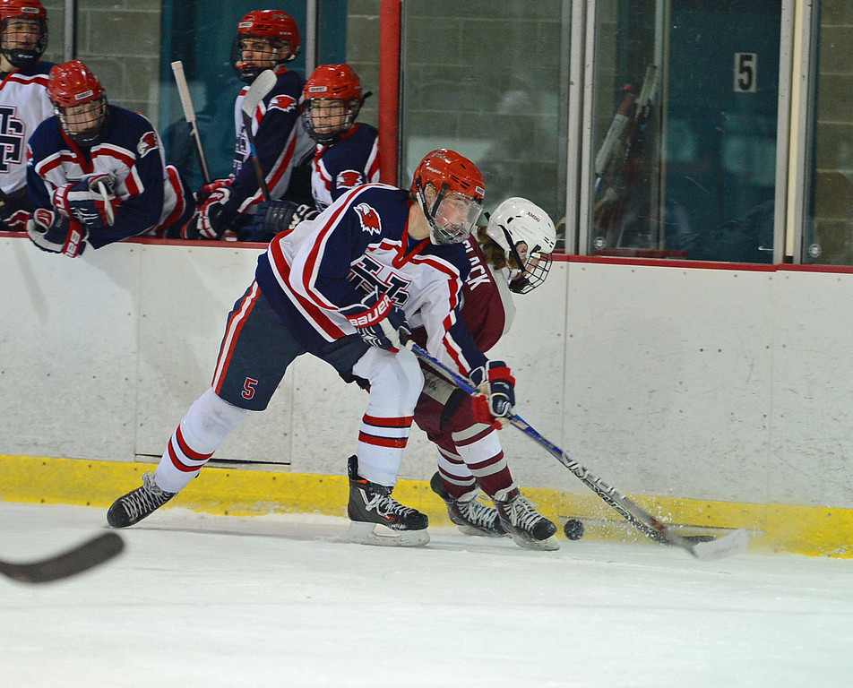 . Tom McNulty (5) fights for puck with Nathan Master (28).