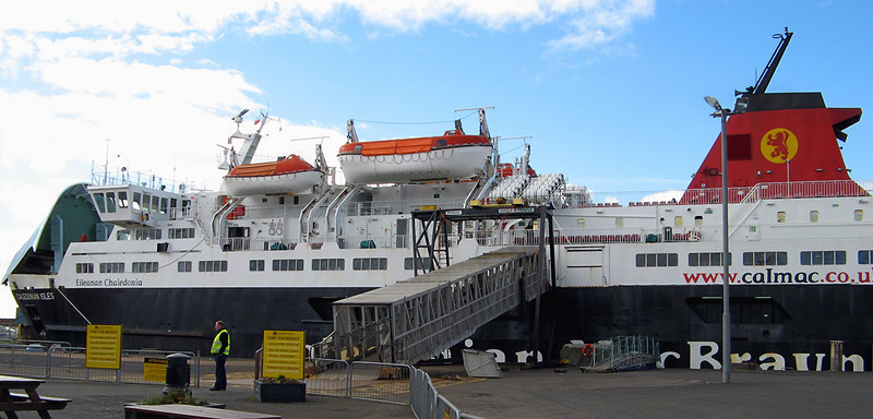 The Calmac Ferry waiting at Ardrossan: it's timed to connect with the the train from Glasgow Central