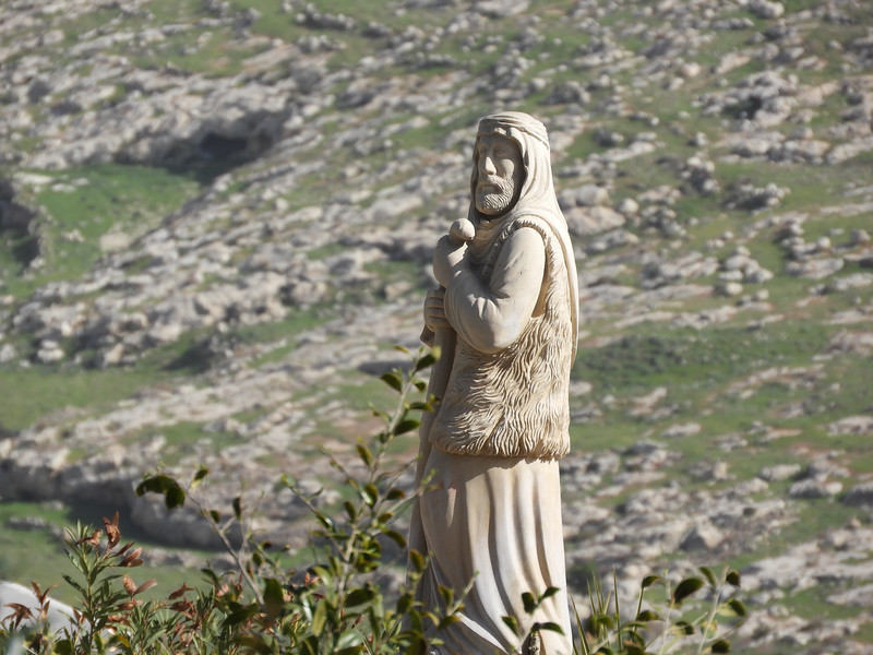 Statue of a shepherd above Shepherds' Fields