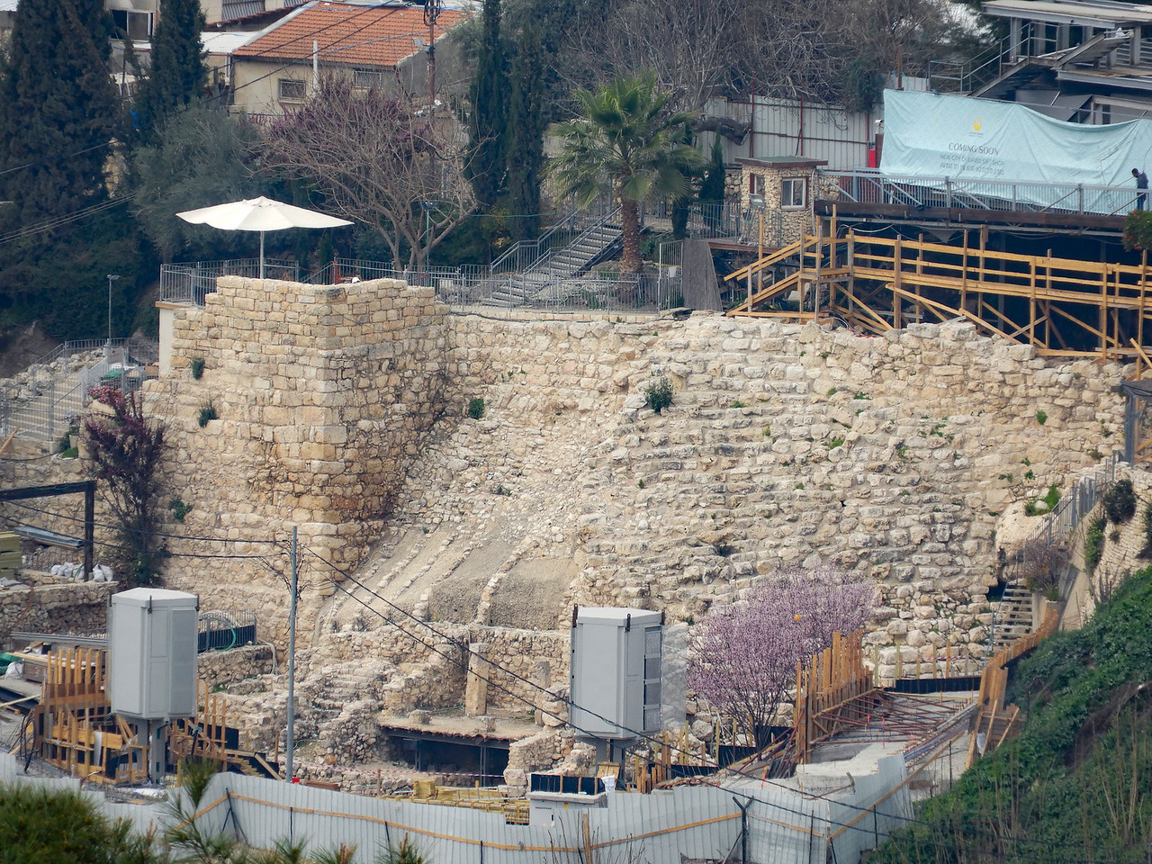 Ancient tower and wall above the City of David.