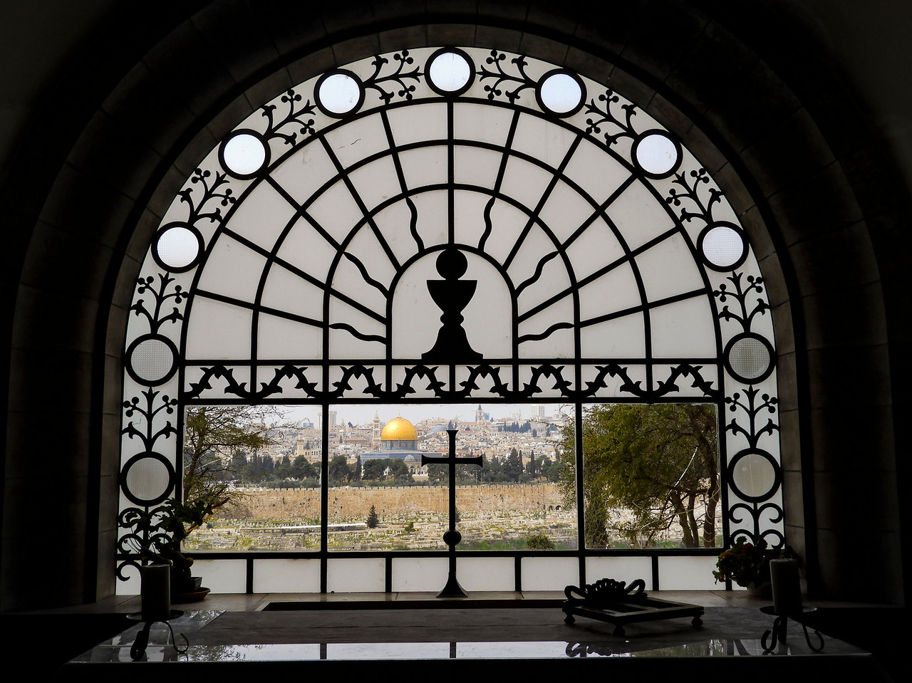 Window in Dominus Flevit Chapel looking toward Jerusalem