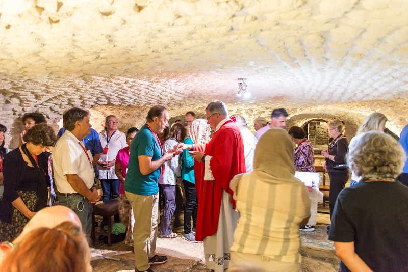 Jerusalem - Church of the Condemnation, Mass in the Prison of Jesus Chapel