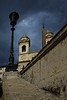 Rome9288<br /> I love this dramatic view of the Trinitia dei Monti Church peeking above the Spanish Steps.