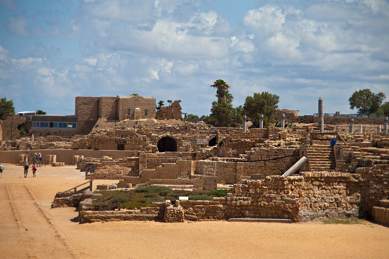 Caesarea8146<br /> Facing the Mediterranean Sea is the Amphitheater and remains of many bordering structures.