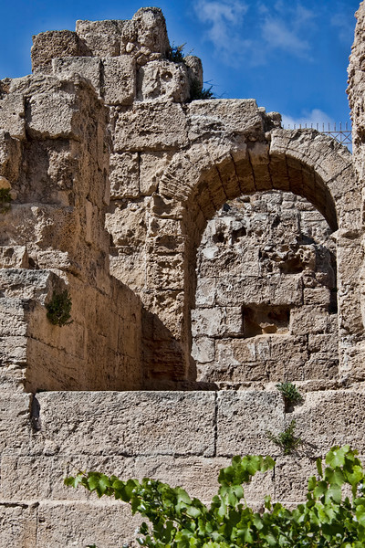 Caesarea8096<br /> The ruins at Caesarea; an ancient city built by Herod the Great. This gate enters into the 'theater' of this harbor town. (A theater is half circle while an amphitheater is a full circle - like the Colosseum in Rome)